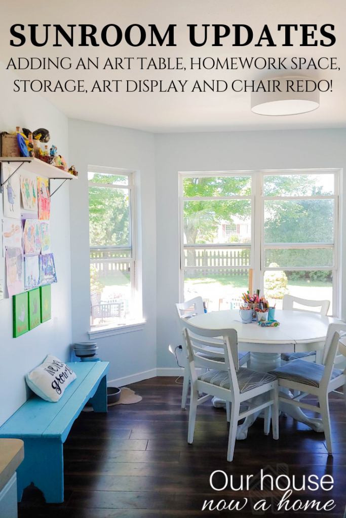 Creative use for an eat in kitchen. Creating a homework space for kids with an art table, art display and storage. Perfect simple and functional sun room.