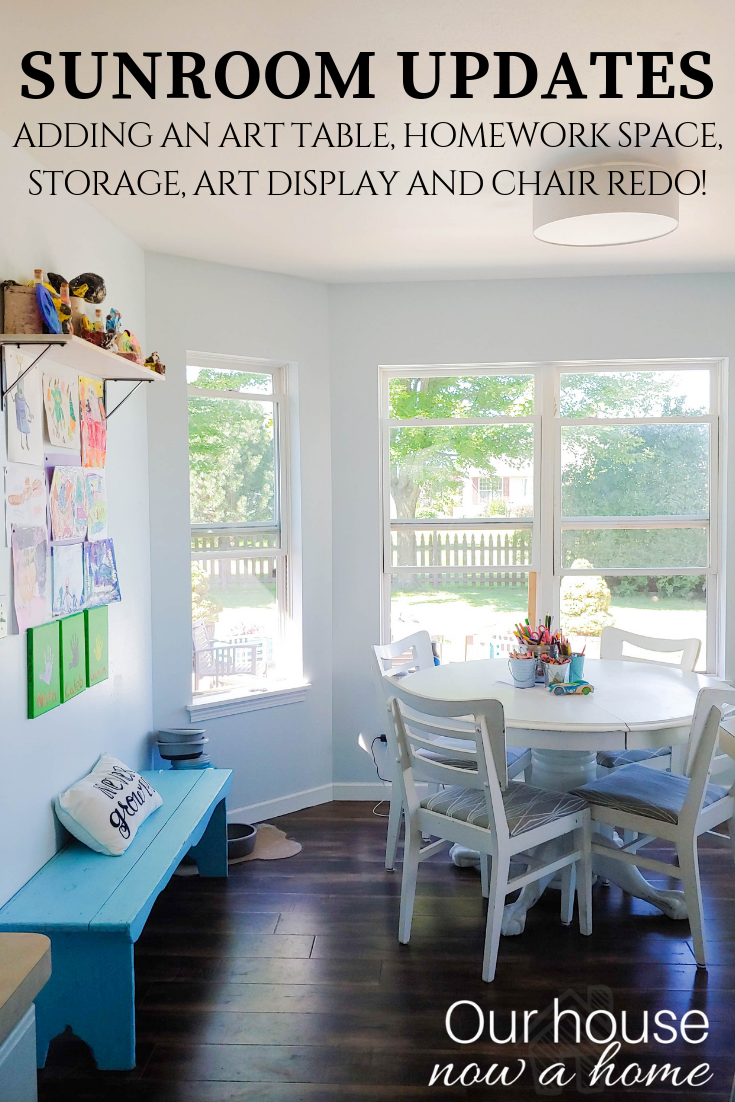 Sun Room Updates Creating A Homework Space Storage Redoing Chairs