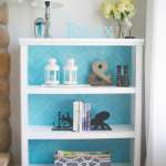 Bookshelf redo, adding DIY herringbone