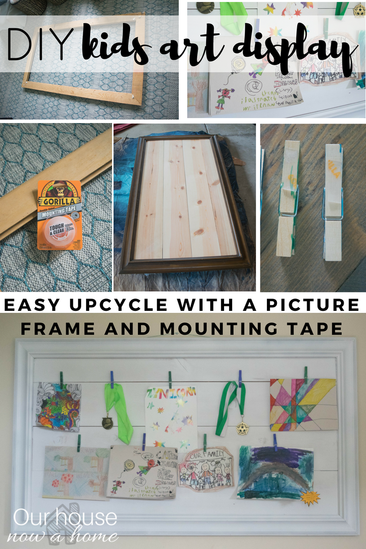 Easy DIY kids art display, picture frame upcycle • Our House