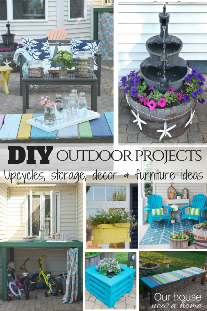 DIY outdoor projects. Easy to make upcycles, storage, decor and furniture ideas. Low cost solutions for indoor/outdoor living.
