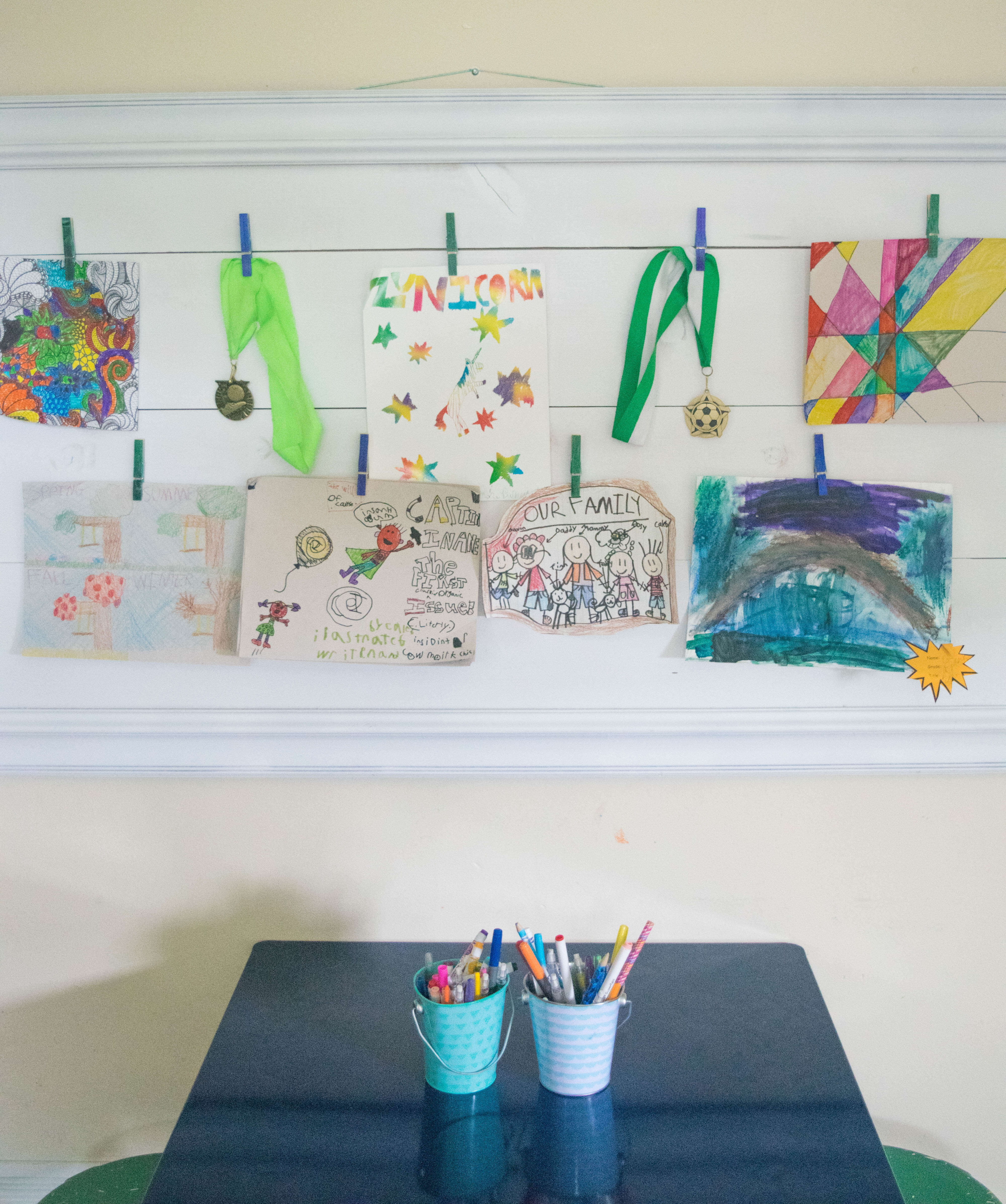Easy DIY kids art display, picture frame upcycle • Our House Now a Home