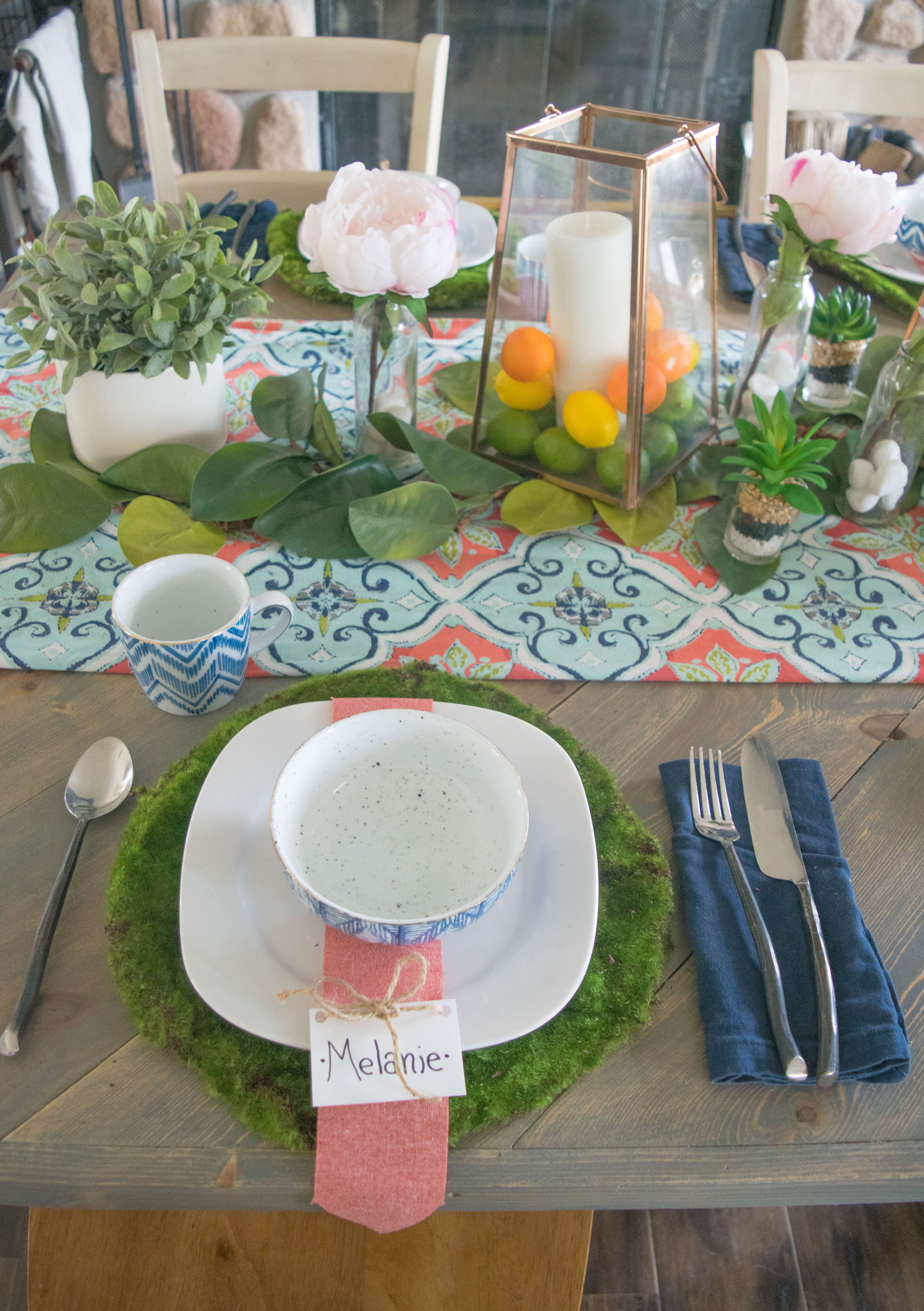 Bold colorful nature inspired spring tablescape our house now diy place setting solutioingenieria Gallery