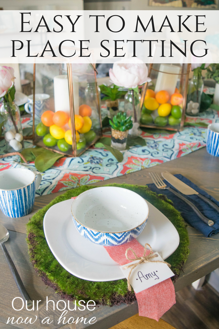 Easy To Make Place Setting Perfect For A Spring Or Summer Tablescape Idea.  Bold,