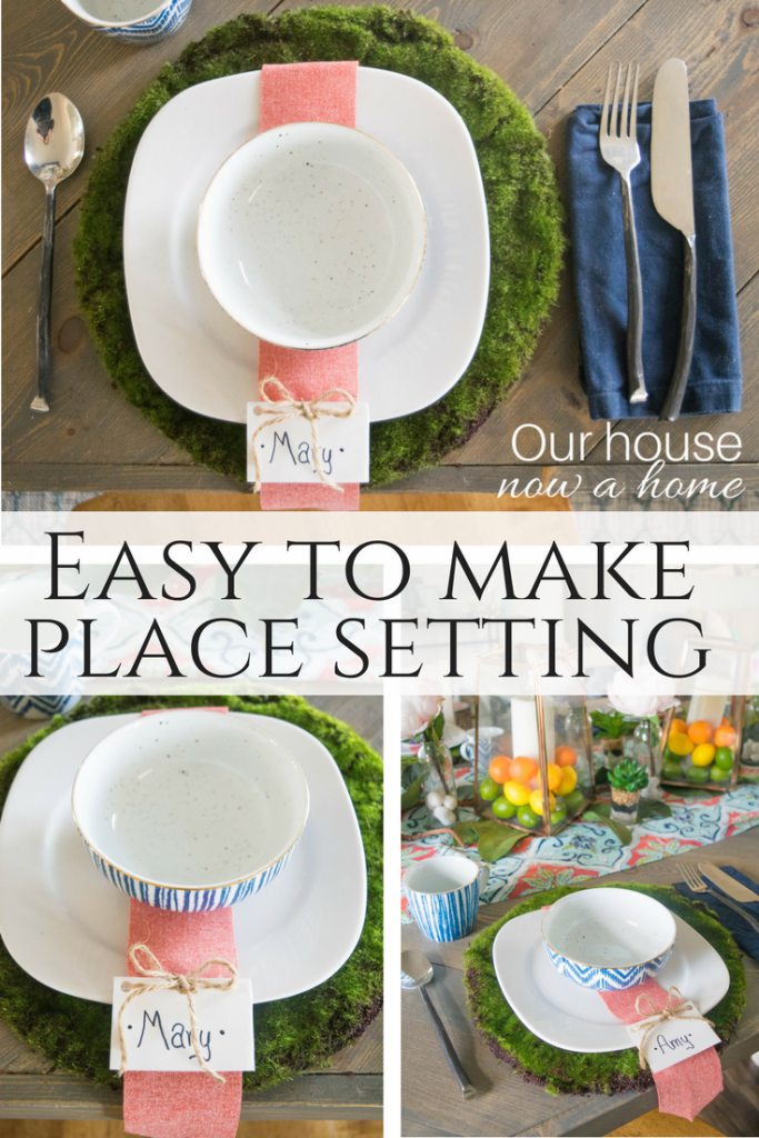 Easy to make place setting perfect for a spring or summer tablescape idea. Bold, colorful, nature and relaxing table decor.