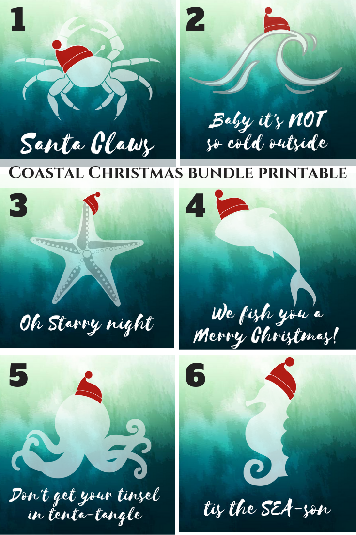 graphic about Printable Christmas Art called No cost Vacation printables - Uncomplicated, coastal and enjoyment Xmas
