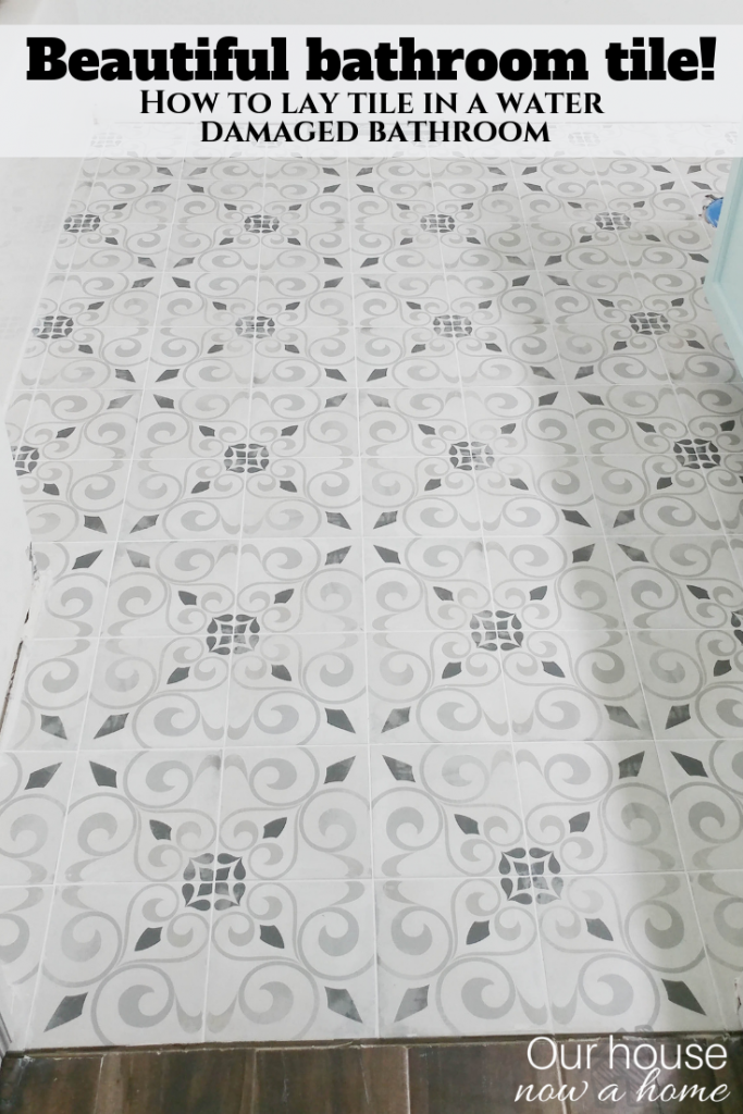 How to lay Bathroom tile. Beautiful cement tile for this DIY bathroom renovation