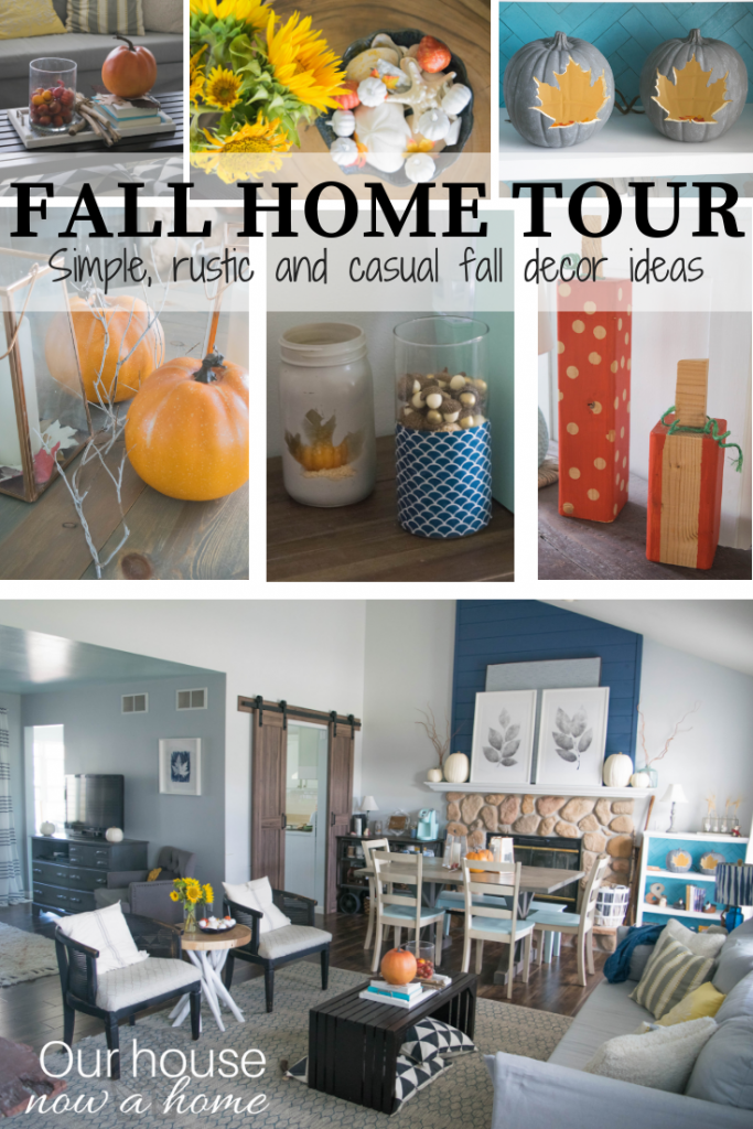 Simple, rustic, casual, DIY, craft and low cost Fall Home Tour. This coastal style home is transformed with subtle and soft changes for the fall season.