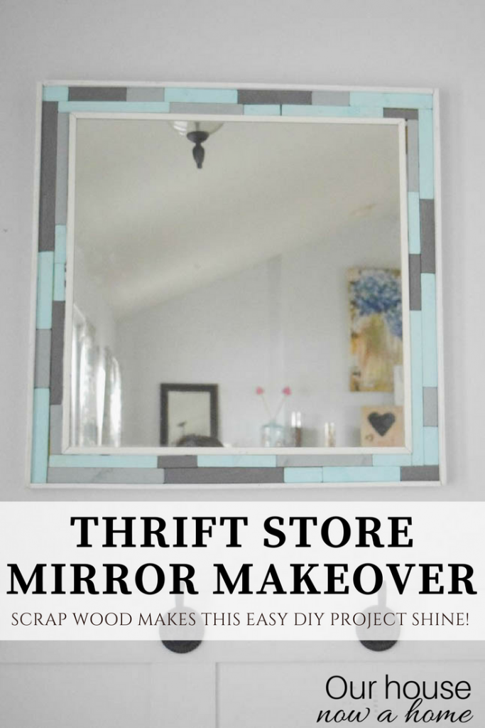 Thrift store mirror makeover. Easy DIY scrap wood project.