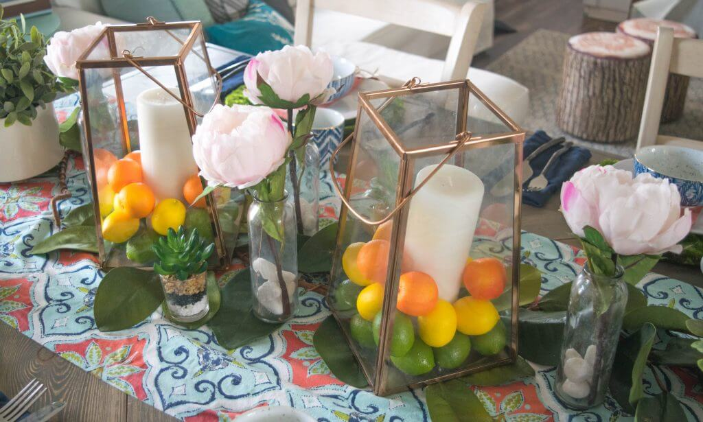 tablescape with lanterns